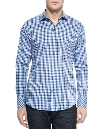 Ground-Check Sport Shirt, Navy/Blue
