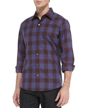 Tyler Shadow-Check Woven Shirt, Blue