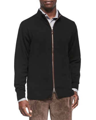 Leather-Trim Full-Zip Sweater, Black