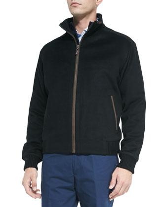 Patrick Wool-Blend Zip-Front Jacket, Black