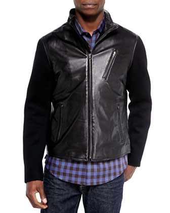 Hudson Leather Jacket with Wool-Blend Sleeves & Check Woven Sport Shirt