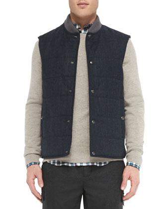 Quilted Wool/Alpaca Vest, Navy
