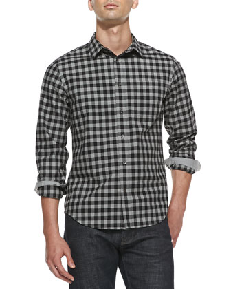 Check Cotton-Flannel Shirt, Dark Gray