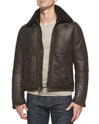 Shearling-Collar Leather Jacket & Elbow-Patch Crewneck Sweater
