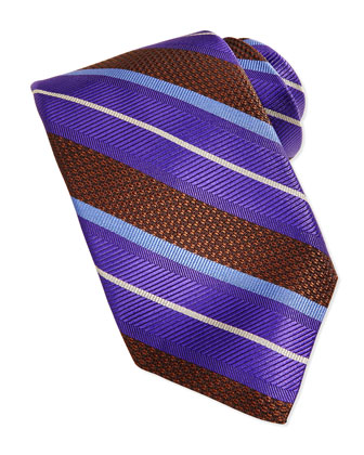 Wide Alternating Stripe Tie, Brown