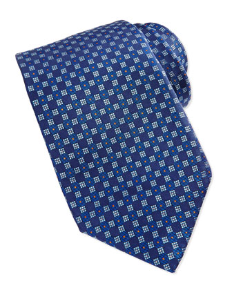Checkerboard Neat Tie, Blue