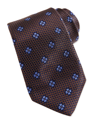 Micro-Neat Floating Foulard Tie, Brown