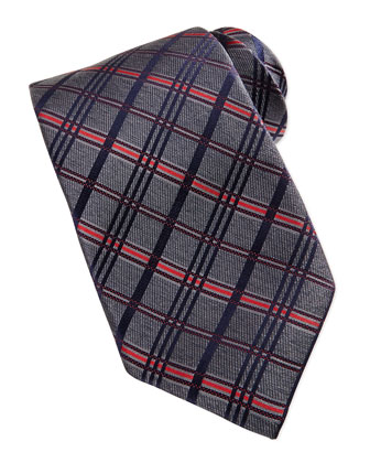 Satin Diagonal Plaid Tie, Gray