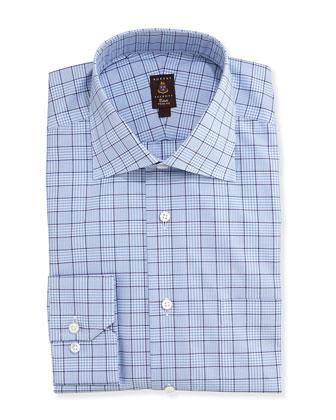 Glen Plaid Twill Trim Fit Dress Shirt, Blue/Navy