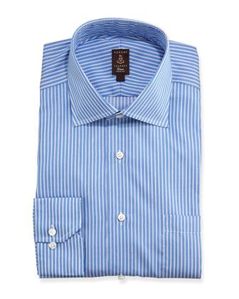 Pique-Stripe Trim Fit Dress Shirt, French Blue