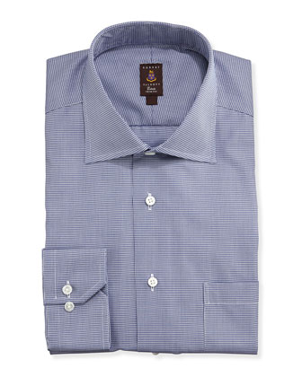 Micro-Houndstooth Trim Fit Twill Dress Shirt, Navy