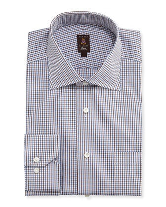 Tattersall-Check Trim Fit Dress Shirt, Brown/Blue