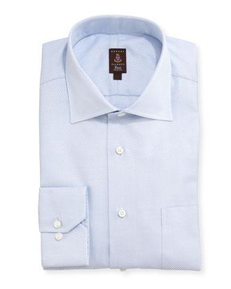 Diagonal Twill Dress Shirt, Light Blue