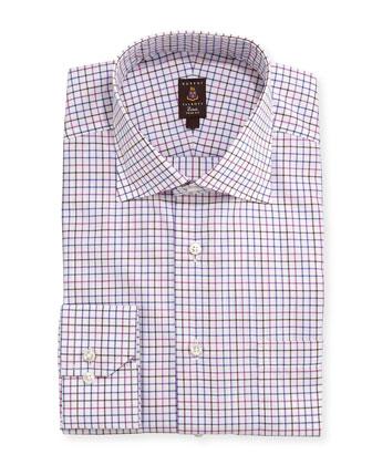 Tattersall-Check Trim Fit Dress Shirt