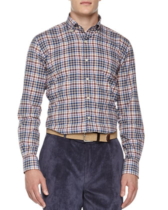 Plaid Button-Down Shirt, Blue/Rust