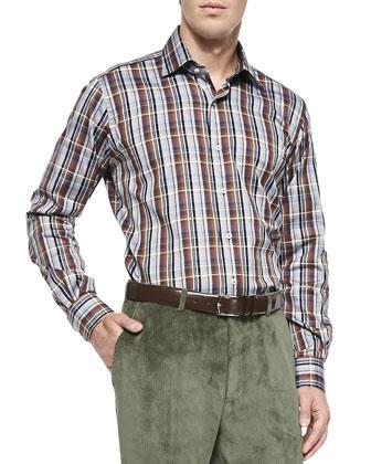 Melange 1/4-Zip Sweater, Large-Plaid Button-Down Shirt & NanoLuxe Corduroy ...