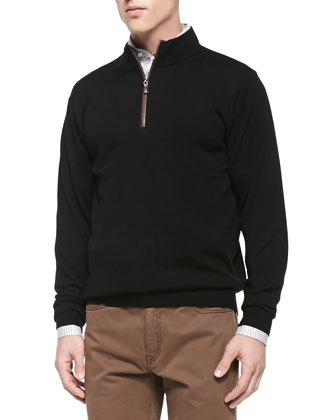 Patrick Wool/Cashmere Jacket, Merino 1/4-Zip Pullover Sweater, Satin Check ...