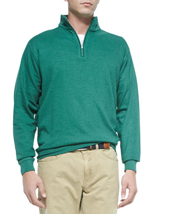 Interlock Quarter-Zip Pullover, Green