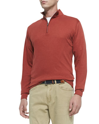 Interlock Quarter-Zip Pullover, Red