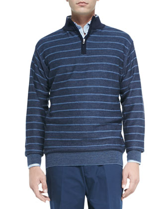 Striped Merino Birdseye Quarter-Zip Pullover, Blue