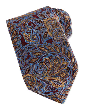 Woven Paisley Tie, Sky