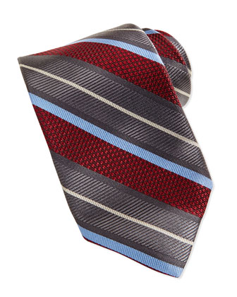 Wide Alternating Stripe Tie, Red