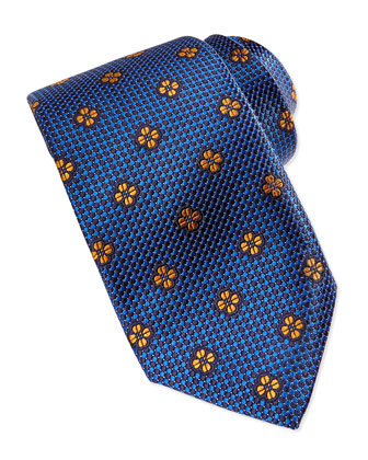 Micro-Neat Floating Foulard Tie, Blue