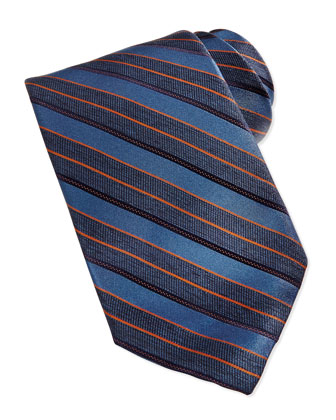 Repp Stripe Silk Tie, Blue