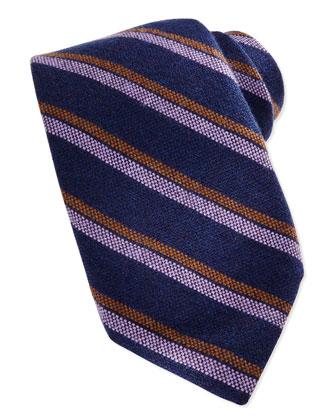 Cashmere Stripe Tie, Navy