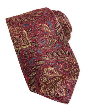 Woven Paisley Tie, Beet