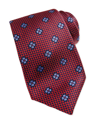 Micro-Neat Floating Foulard Tie, Red