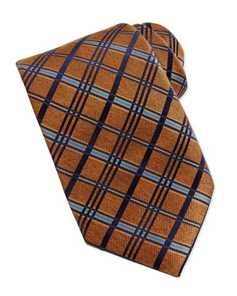 Satin Diagonal Plaid Tie, Gold