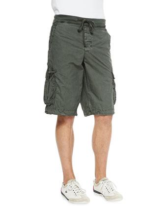 Contrast-Waist Cargo Shorts, Olive