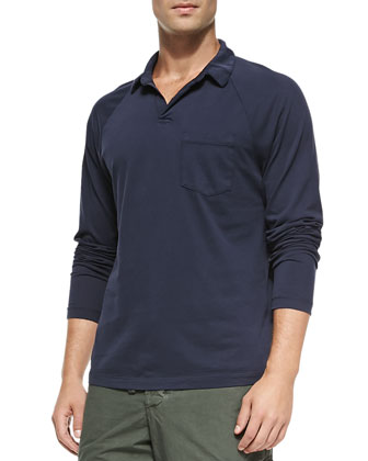 Long-Sleeve Sueded Jersey Polo, Navy