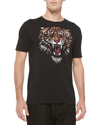 Tiger-Head-Print Tee, Black