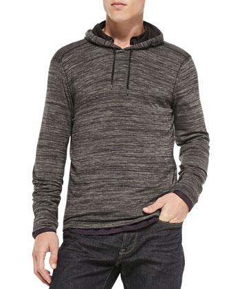 Raw Edge Cut-Print Pullover Hoodie, Gray