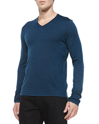 V-Neck Sweater W/ Pintuck Details, Blue
