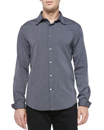 Fine-Stripe Button-Down Shirt, Navy
