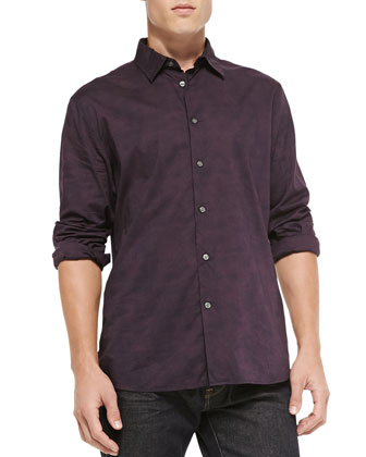 Long-Sleeve Printed Button-Down Shirt, Wine