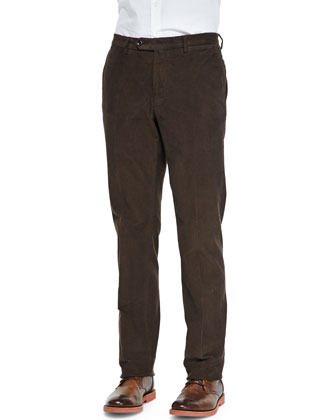 Fine-Wale Corduroy Trousers, Chocolate