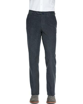 Fine-Wale Corduroy Trousers, Gray