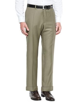 Wool-Twill Trousers, Tan