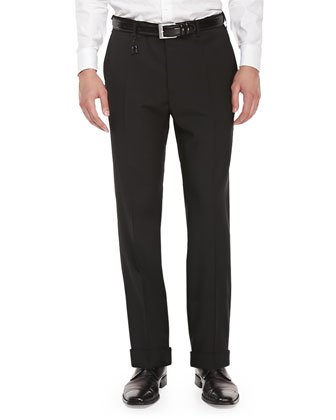 Benson Wool-Twill Trousers, Black