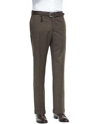 Melange Wool Trousers, Brown