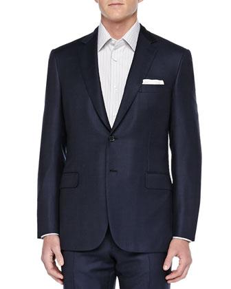 Birdseye Two-Piece Suit, Navy