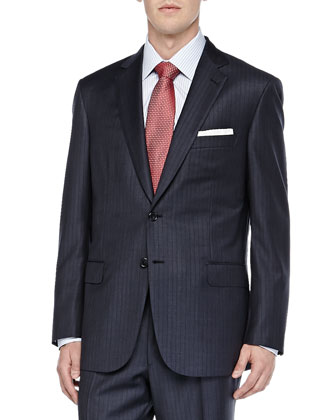 Striped Two-Piece Suit, Blue/Brown