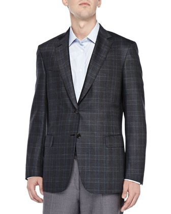 Plaid Two-Button Jacket, Olive/Blue