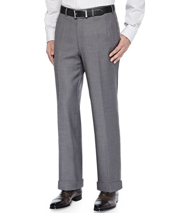 Twill Flat-Front Trousers, Gray