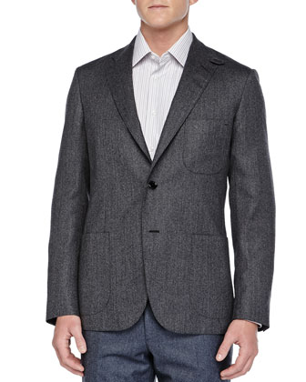 Herringbone Two-Button Jacket, Gray