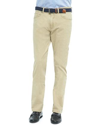 Stretch Five-Pocket Pants, Beige
